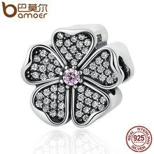 Bamoer 925 sparkling apple blossom, Blush Pink Crystal & Clear CZ Granos de Los Encantos Cupieron la Pulsera Joyería de Las Mujeres PSC051