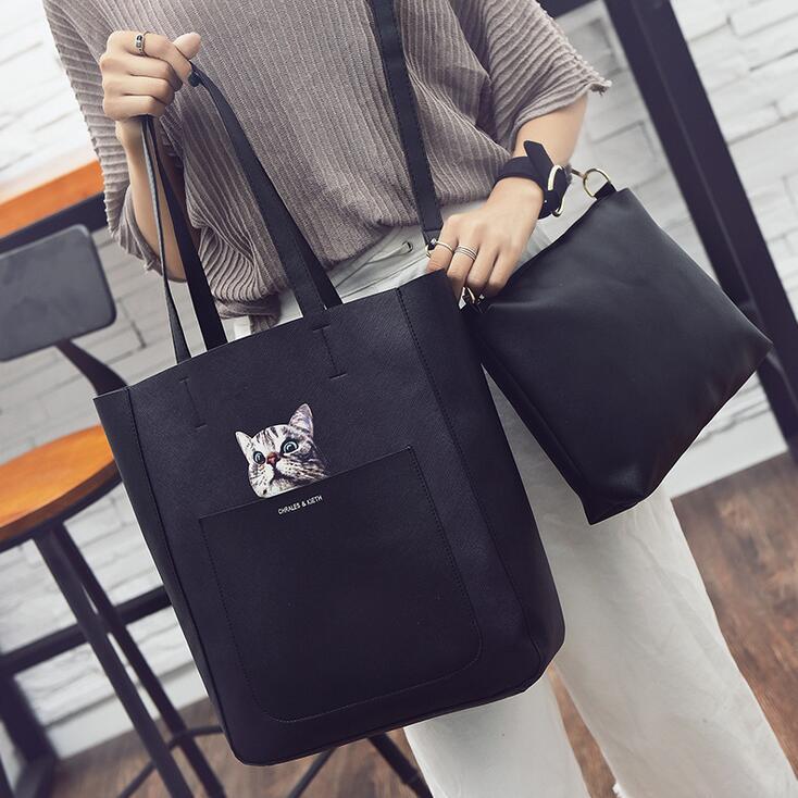 2017 Fashion New Handbags Quality PU leather Big Women bag Cartoon Printed Cat Shoulder bag Retro