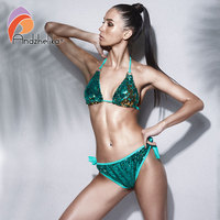 Andzhelika Bikini Women Sexy Double Sided Color Sequin Bikini Set Brazilian Swimsuit Metal Swimwear Beach Bathing