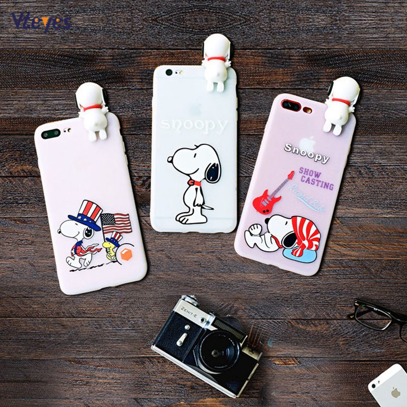 For iphone X 7 8 6s Case Cute 3D PEANUTS Pet Dog Clear cartoon Cases for iphone 6 6plus 7/8plus Cover Cartoon soft silicon cases