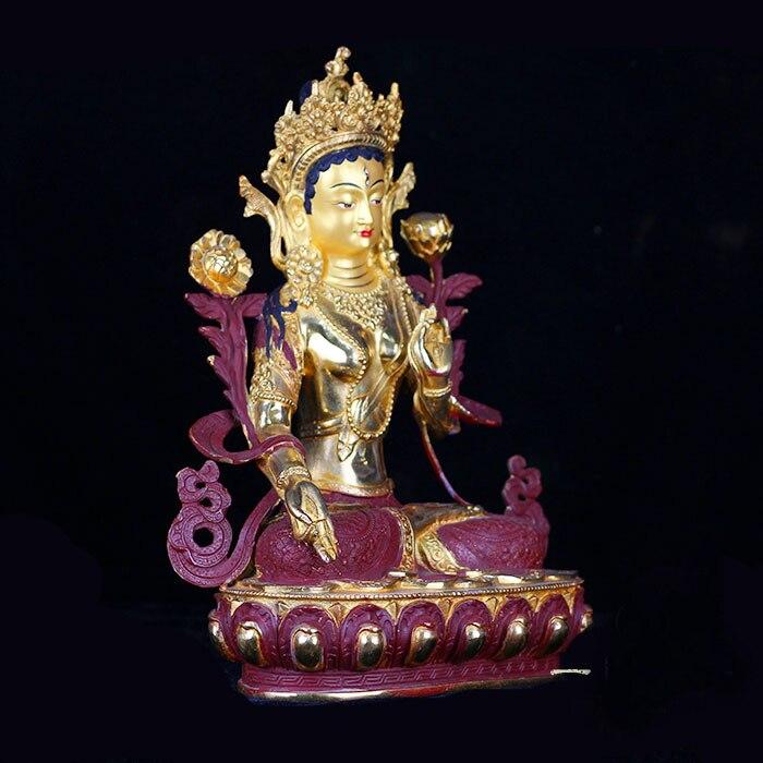33 CM alto # hogar protección eficaz talismán budismo Bodhisattva Tara Buda blanco dorado bronce la estatua de Buda-in Estatuas y esculturas from Hogar y Mascotas    2