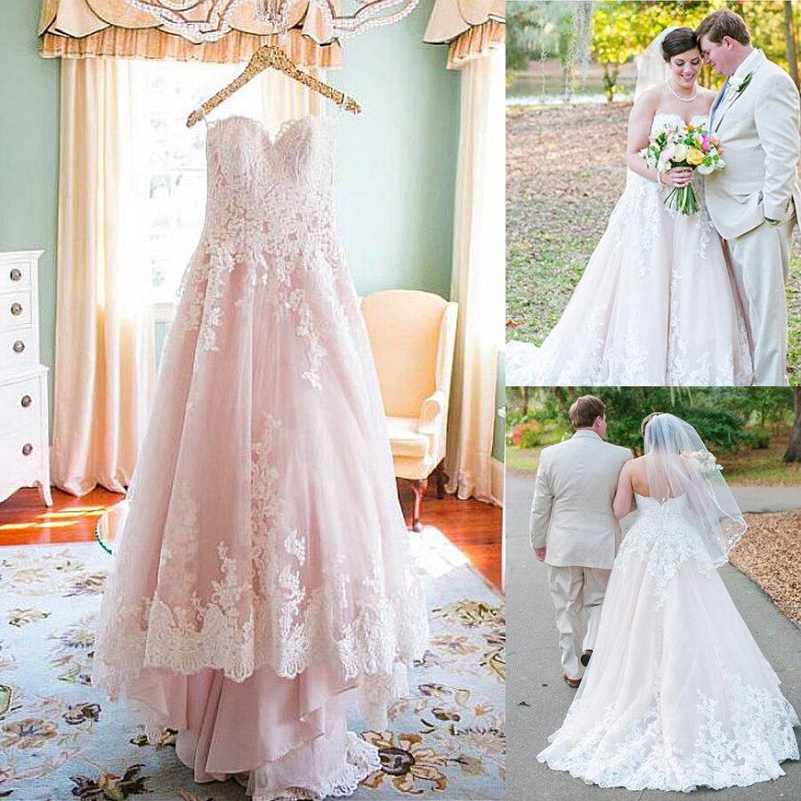 Plus Size Pink Tulle Sweetheart Neckline A-line Wedding Dresses With Ivory Lace Appliques Bridal Gowns Vestido De Festa Longo