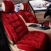 3D Fully Enclosed Short Plush Seat Cover Winter Thermal Non Slip Cushion For Honda Accord Civic CRV Crosstour Fit City HRV Vezel