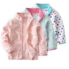 Free shipping baby girls fleece jacket coat new arrival autumn and winter for 90-150 cm tall