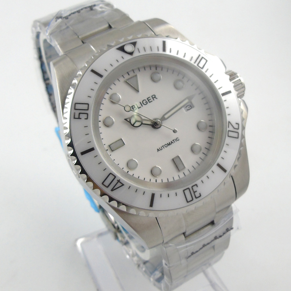 Bliger 44mm white Sterile dial white Ceramic Bezel automatic mens watch