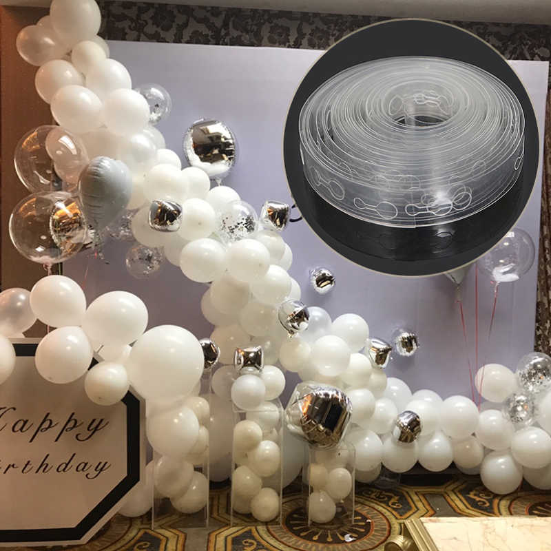 5M/Roll 410 Holes Latex Balloon Chain of Rubber Wedding Birthday Party Balloons Backdrop Decor Balloon Chain Arch Decorations