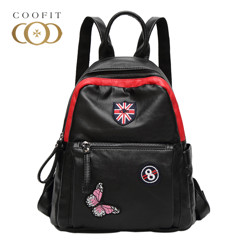 Coofit Casual UK Flag Pattern Backpack Female Women Butterfly Embroidery School Bagpack For Girls Teens Youth PU Leather Satchel fashion design women backpack leather star rivet black female youth satchel