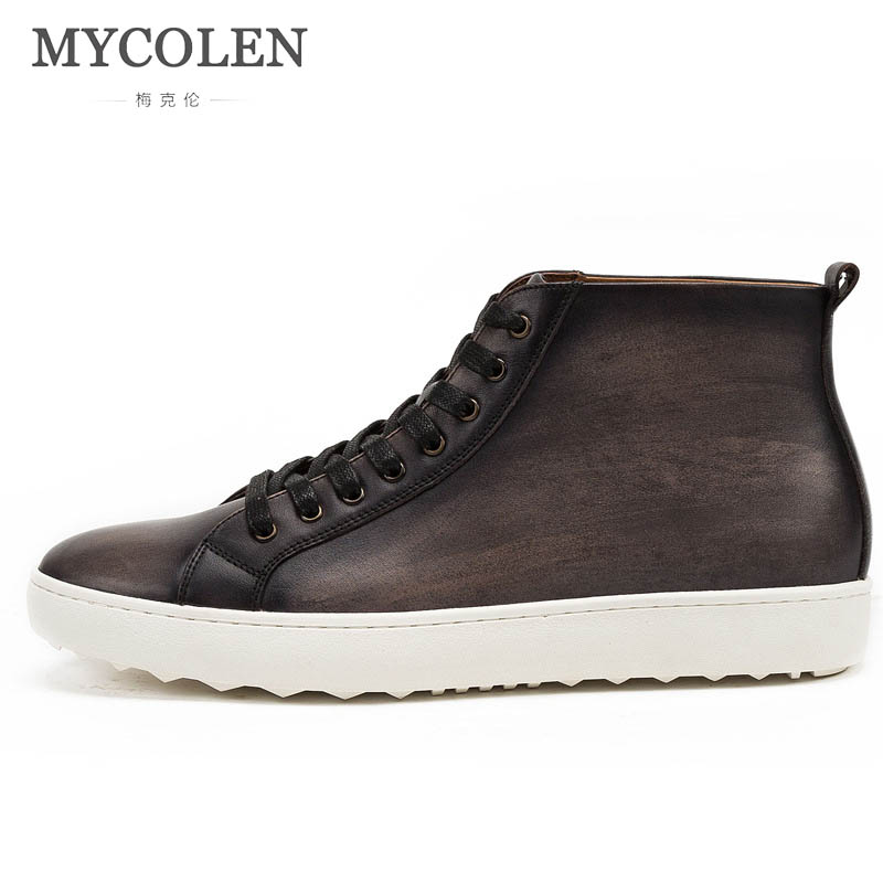 MYCOLEN 2019 new autumn and winter mens sports shoes leather breathable mens casual shoes British leather high-top shoesMYCOLEN 2019 new autumn and winter mens sports shoes leather breathable mens casual shoes British leather high-top shoes