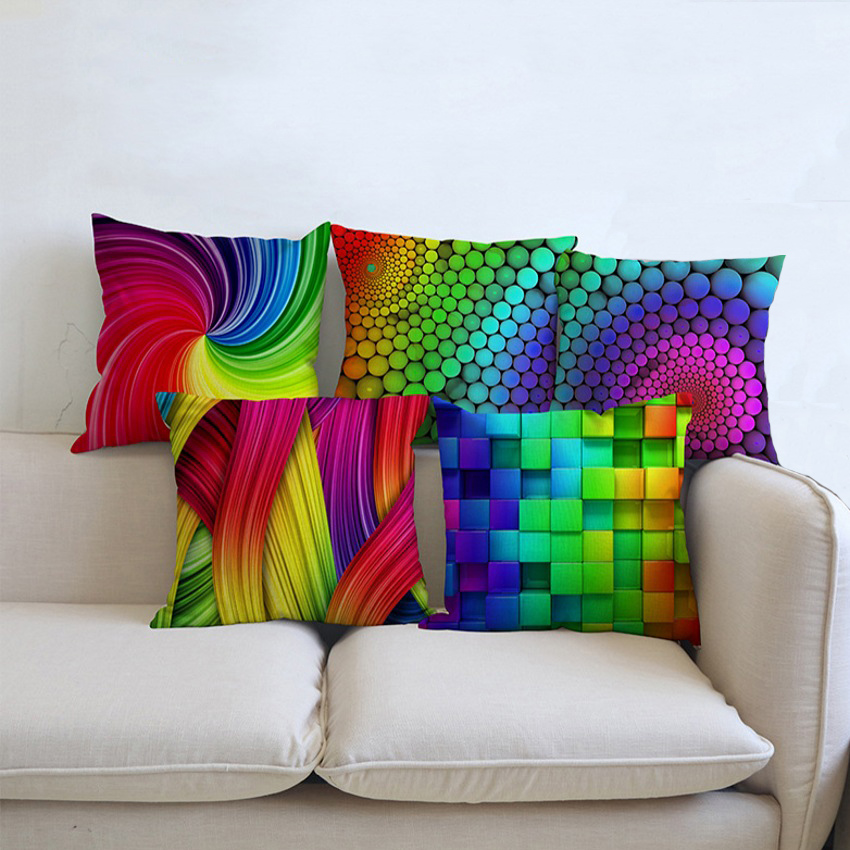 Colorful Geometrics Cubes Spots Home Decor Pillows Sofa Decorative Cushion Cover Modern Rotating Geometric Movement Pillow Cases
