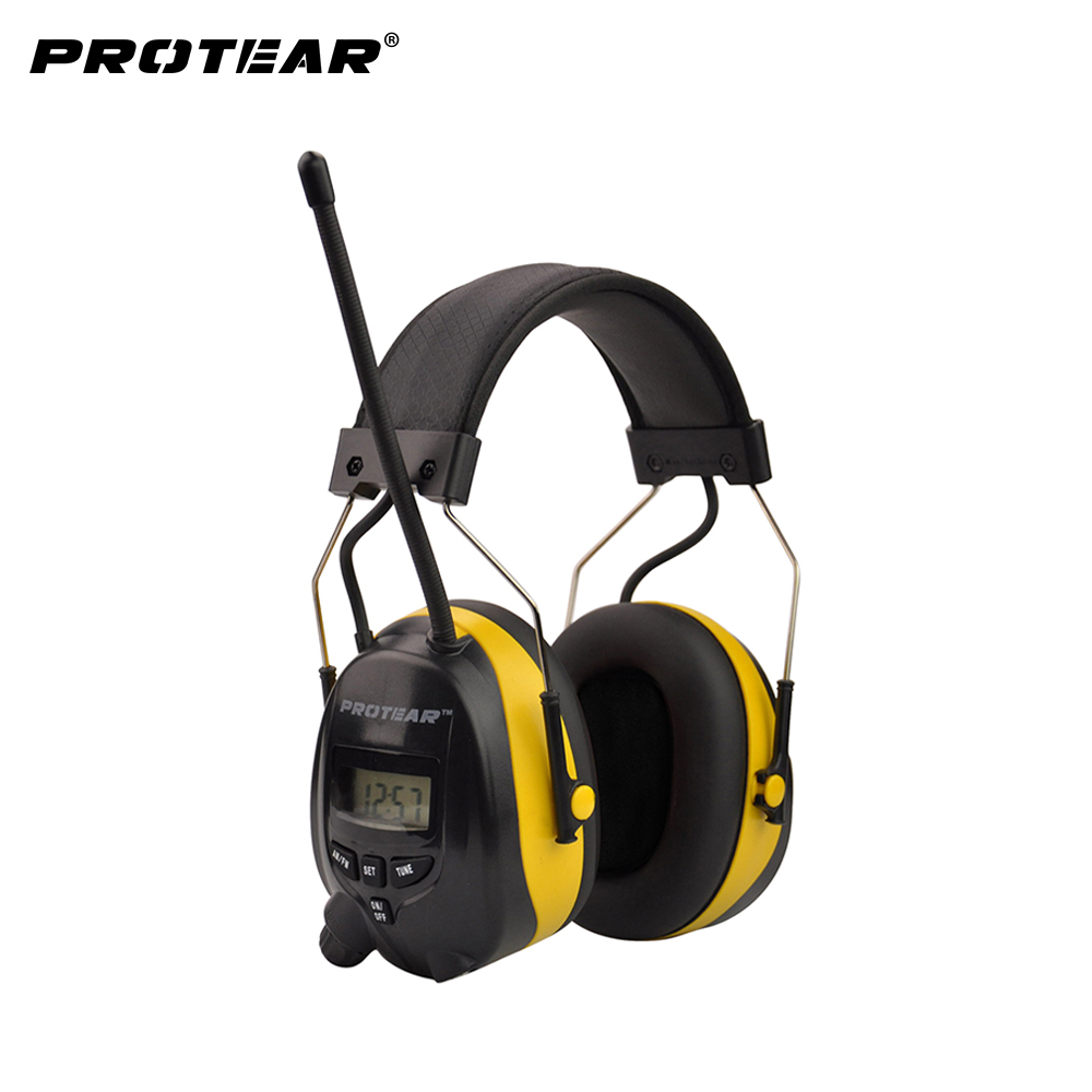 Protear NRR 25dB Protecting Hearing AM FM Radio Earmuffs Perlindungan Telinga Elektronik Menembak Earmuffs Radio Hearing Protection