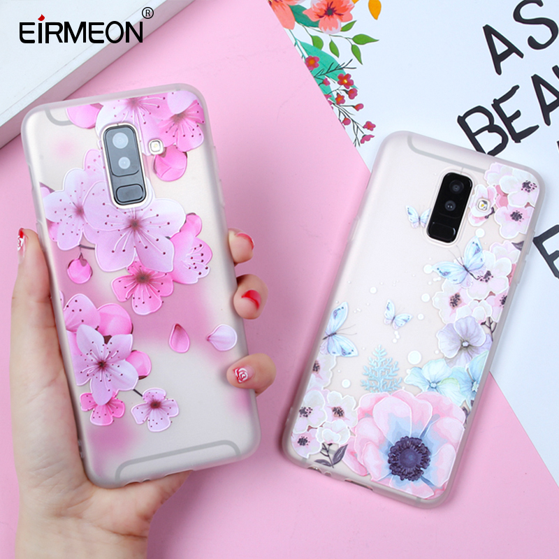 EIRMEON 3D Relief Case For Samsung Galaxy A6 Plus 2018 S8 S7 Edge S9 Plus A5 2017 J2 J3 J5 J7 A3 A5 A7 2016 J6 2018 Floral Cases-in Fitted Cases from Cellphones & Telecommunications