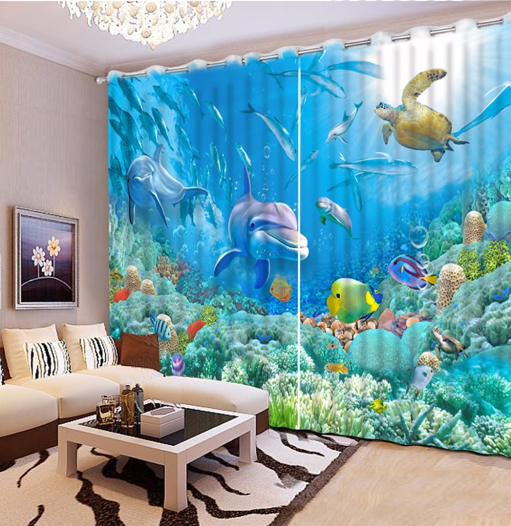 Underwater world Printing Curtains The Bedroom Curtains Blackout Cotton/Polyester Curtain Drapes For Living Room New 2 piecesUnderwater world Printing Curtains The Bedroom Curtains Blackout Cotton/Polyester Curtain Drapes For Living Room New 2 pieces