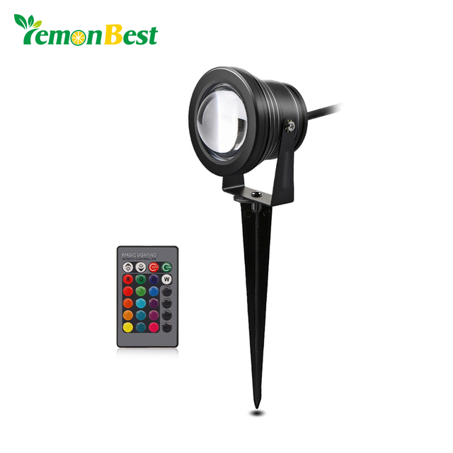 10w Rgb Led Lawn Light Remote Control Garden Lights Outdoor With Spike For Yard Patio Path