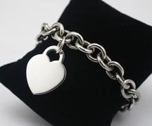 Joyería de moda de acero Inoxidable de plata amor del corazón pulseras del encanto para las mujeres de la cadena y del acoplamiento pulsera brazalete corazón para parejas 20.5 cm