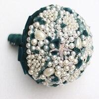 Teal blue pearl brooch bouquet Bride Bridal crystal Wedding Bouquet custom made bouquets