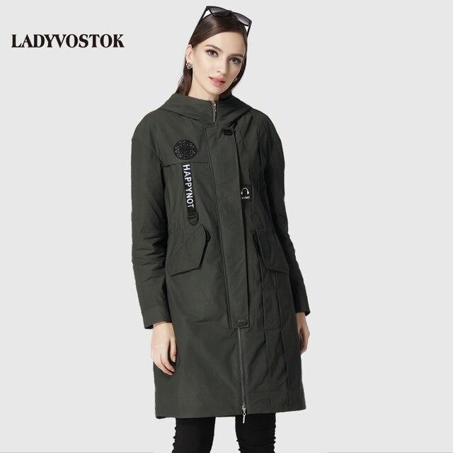 LADYVOSTOK Случайных ветровка мода наушники женские пальто женщин досуг длинный отрезок парка женская 17-079