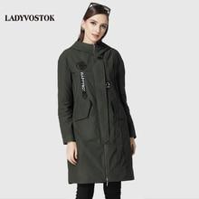 LADYVOSTOK Случайных ветровка мода наушники женские пальто женщин досуг длинный отрезок парка женская 17-079(China (Mainland))