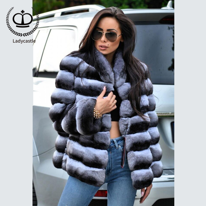 2018 New Real Chinchilla Rex Rabbit Fur Coat Stand Collar Fur Coat From Natural Jacket Winter With Real Fur Women Luxury RB-061