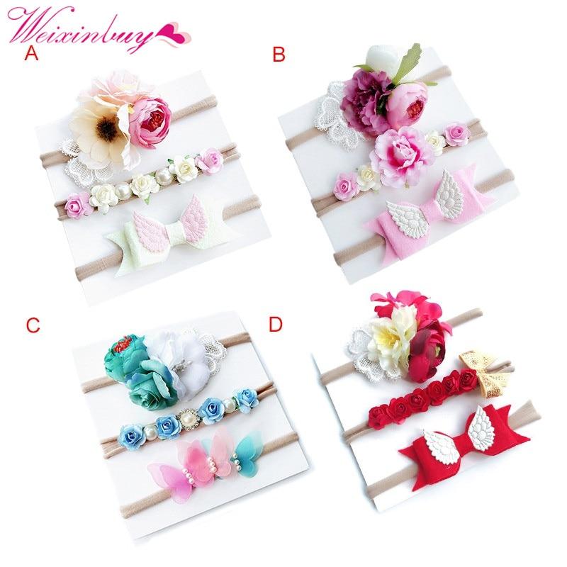 3PCS/Set Baby Girl Headdress Elastic Band Tiara Headdress Flower Bow Child Tiara Baby Newborn Flower Tiara