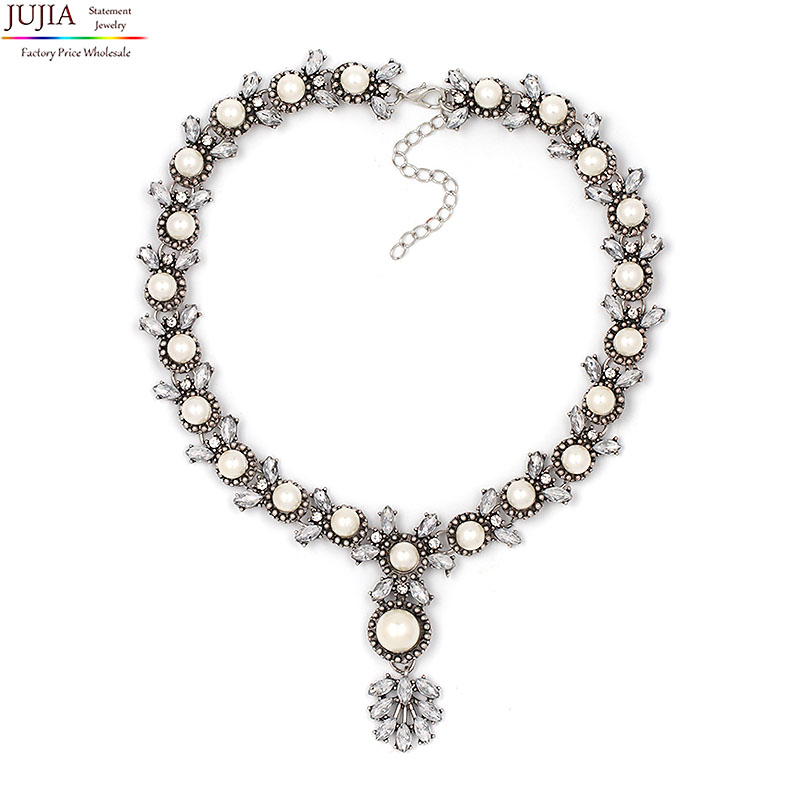 JUJIA NEW Z fashion necklace collar choker simulated pearl pendant Necklaces Pendants costume statement Necklaces for