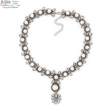 Jujia nuevo z collar choker collar de moda simulado perla colgante collares y colgantes vestuario collares declaración para las mujeres