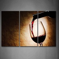 3 Pics Framed Wall Art Pictures Wine Bottle Canvas Print Food Modern Poster With Wooden Frame For Home And Office Decor