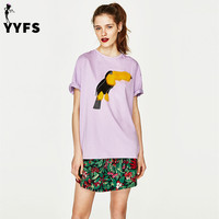 Fashion T Shirt Women Summer Short Sleeve Cool Leather Birds Print Pullover O Neck Tops Tees
