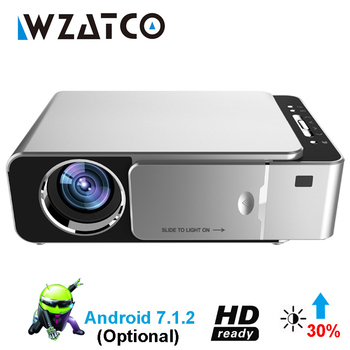 WZATCO T6 Android 7.1 WIFI Smart Optionele ondersteuning 1080 p HD LED Draagbare Mini Projector Video Voor Home Theater Game movie Cinema