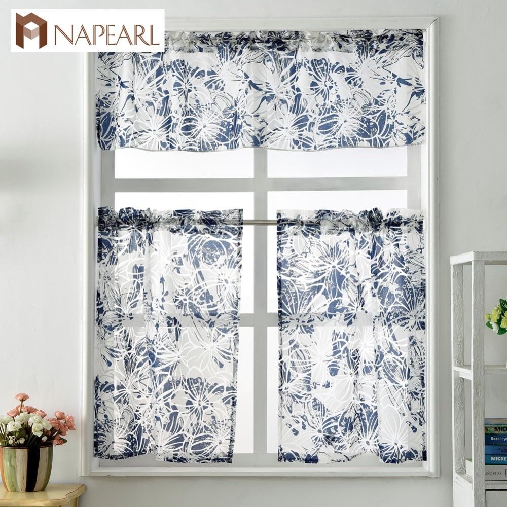 Short Kitchen Curtains Window Treatment Set Modern Cafe