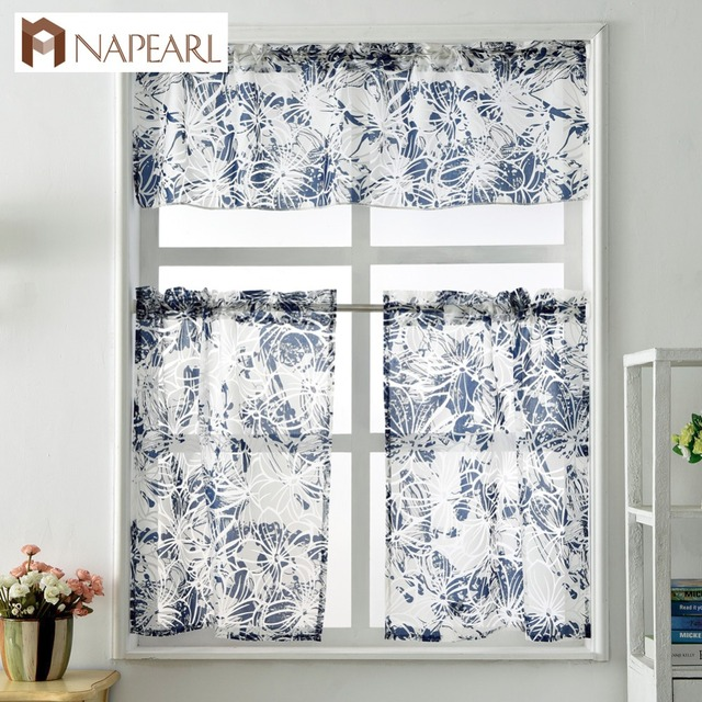 Short Kitchen Curtains Window Treatment Set Modern Cafe Curtain Panel Ready  Made Rod Pocket Small Window