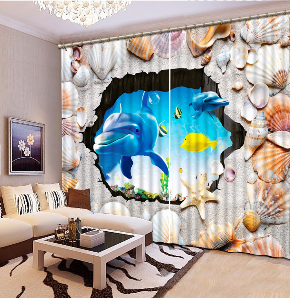 Home Bedroom Decoration Fashion Customized 3D Curtain Shells, Dolphins Curtains For Bedroom Blackout Shade Window Curtains