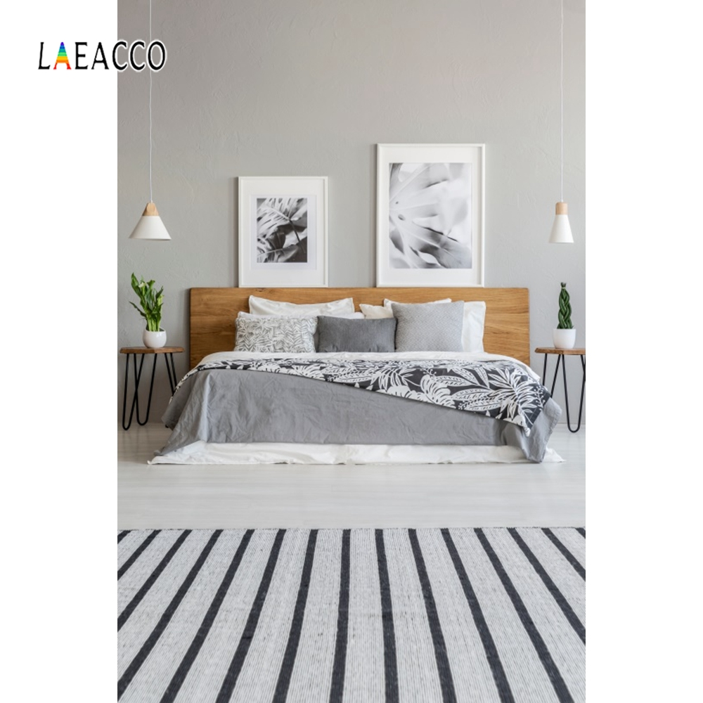 Laeacco Modern Bedroom Backdrop Carpet Wallpaper Photography Background Customized Photographic Backdrops For Photo Studio in Background from Consumer Electronics