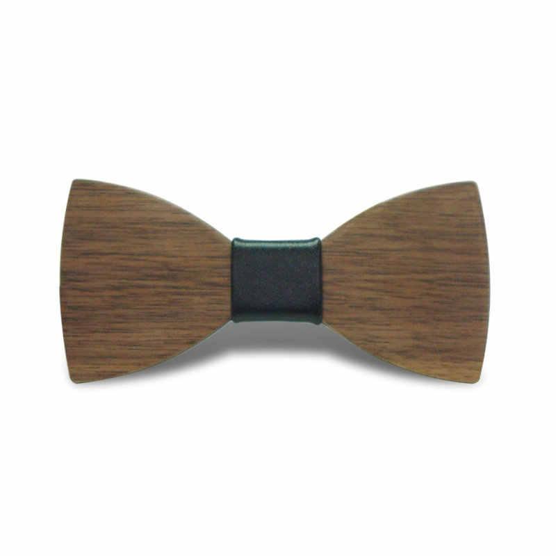 ハイグレード子供スクールシャツ襟ナチュラルウッド蝶ネクタイ新しいパーティータキシード蝶ネクタイ男の子女の子puレザー木製ボウタイ