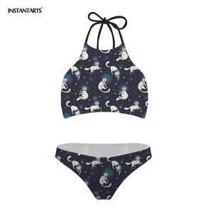 0ff19c4535 INSTANTARTS Women Bathing Suit Cats Space Kitty Push Up Sexy Swim Bikini Set