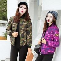 New2018 Autumn Winter Parkas Short Zipper Coat College Wind Slim Baseball Camouflage Jacket Female Parka Women