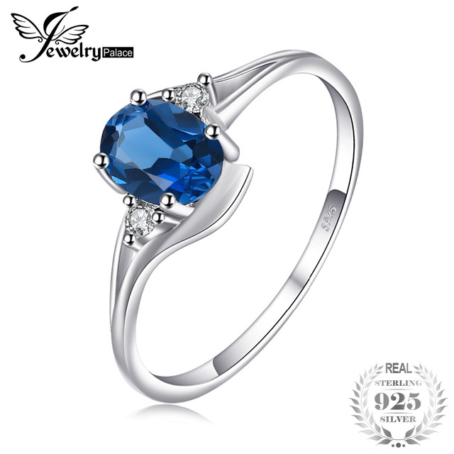 JewelryPalace Oval 0.9ct Natural London Blue Topaz Solitaire Engagement Ring 925