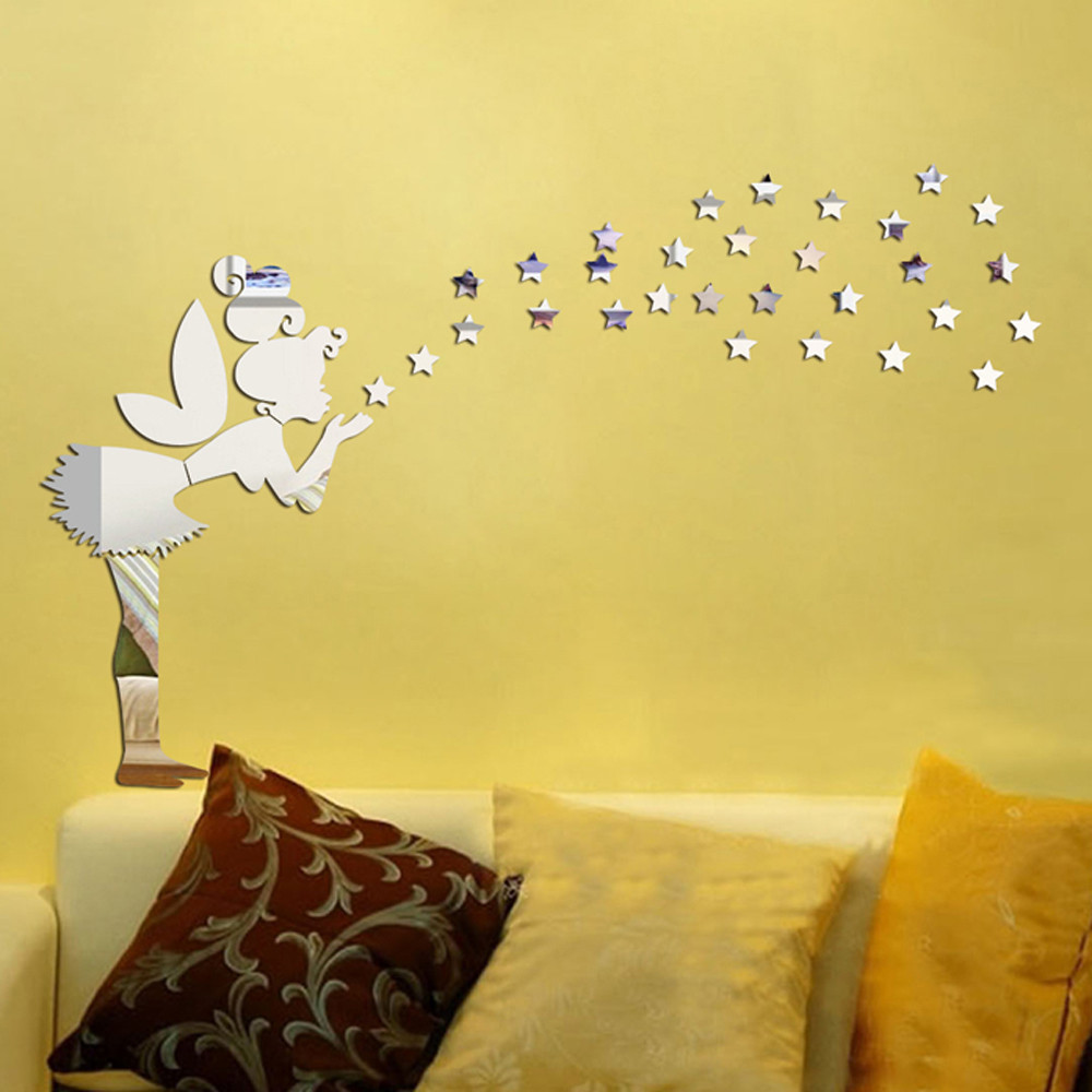 Perfect Mirrored Stars Wall Decor Picture Collection - Wall Art ...
