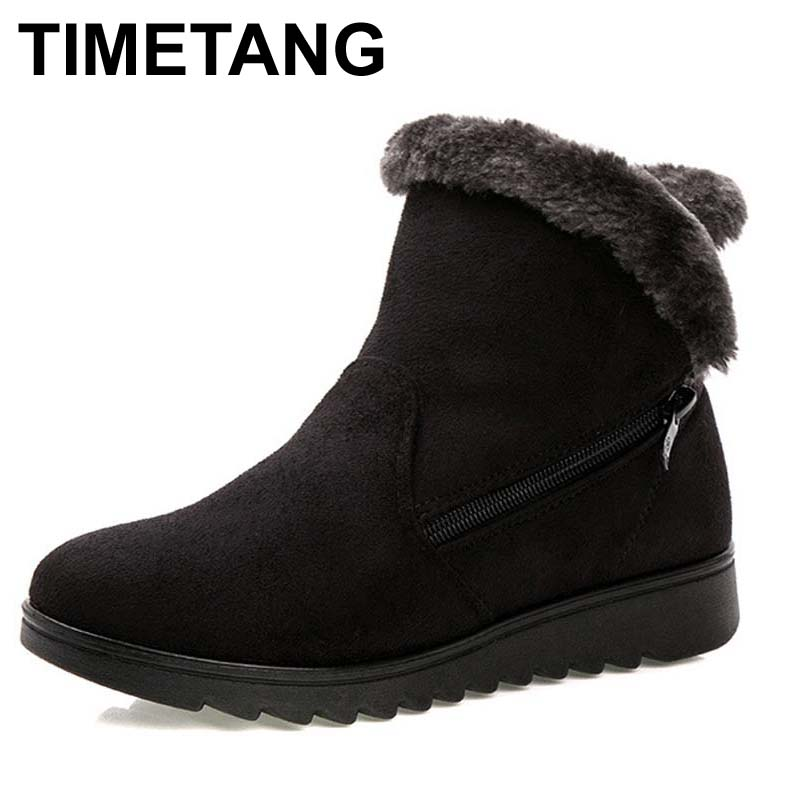 TIMETANG Women Ankle Boots for Rabbit Fur New Fashion Waterproof Wedge Platform Winter Warm Snow Boots Shoes For Female zorssar 2017 new classic winter plush women boots suede ankle snow boots female warm fur women shoes wedges platform boots