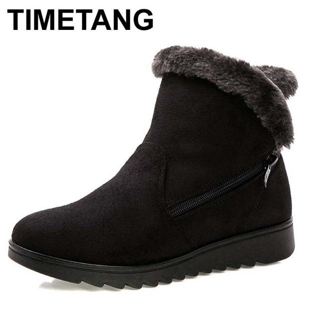 Women Ankle Boots Rabbit Fur Waterproof Wedge Platform Warm Snow Boots Shoes Female