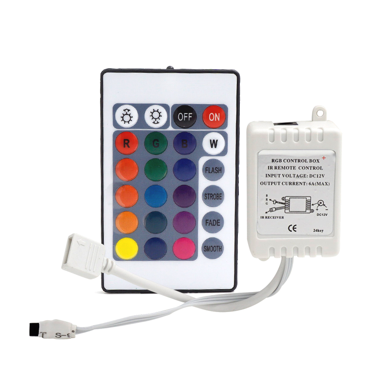 [MingBen] Led Strip IR Remote Wireless Controller DC 12V 24 Keys For LED  SMD2835 Strip LED RGB Control Box Dimmer not battery
