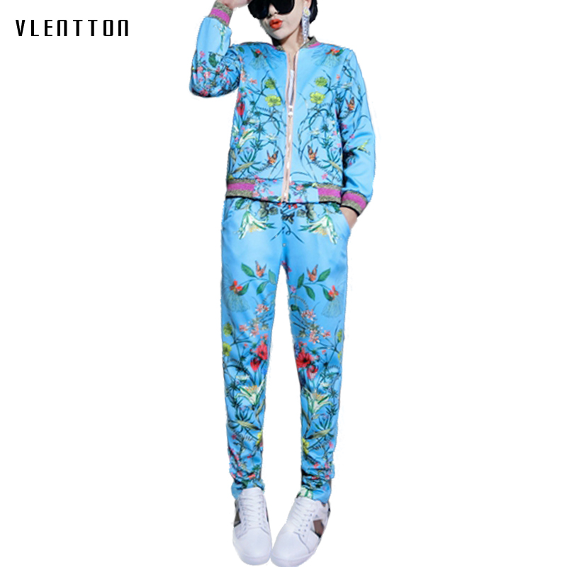 Womens two piece sets 2018 womens casual printing tracksuit Suit Spring autumn jacket +pant 2 piece set outfits