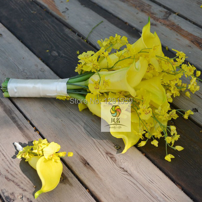 Set Of 10 Country Garden Flower Seed Wedding Favours With: YELLOW CALLA LILY ONCIDIUM DANCING LADY ORCHID WEDDING