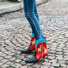 Fashion Week Boots Animal Prints Boots Women High Heels Ankle Bootie Pointed Toe Shoes Party Shoes Street Style Botas Mujer