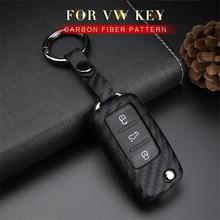 цена на KUKAKEY Car Key Case Cover For Volkswagen VW Polo Golf Passat Touareg Tiguan Beetle Bora Jetta Lavida Carbon Fiber Car Key Bag