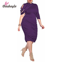 Dasbayla Artı Boyutu Bayan Pileli Kıvrımlı Midi Elbise Zarif Resmi Mor Bodycon Çin Katı Pamuk Giyim XXXL