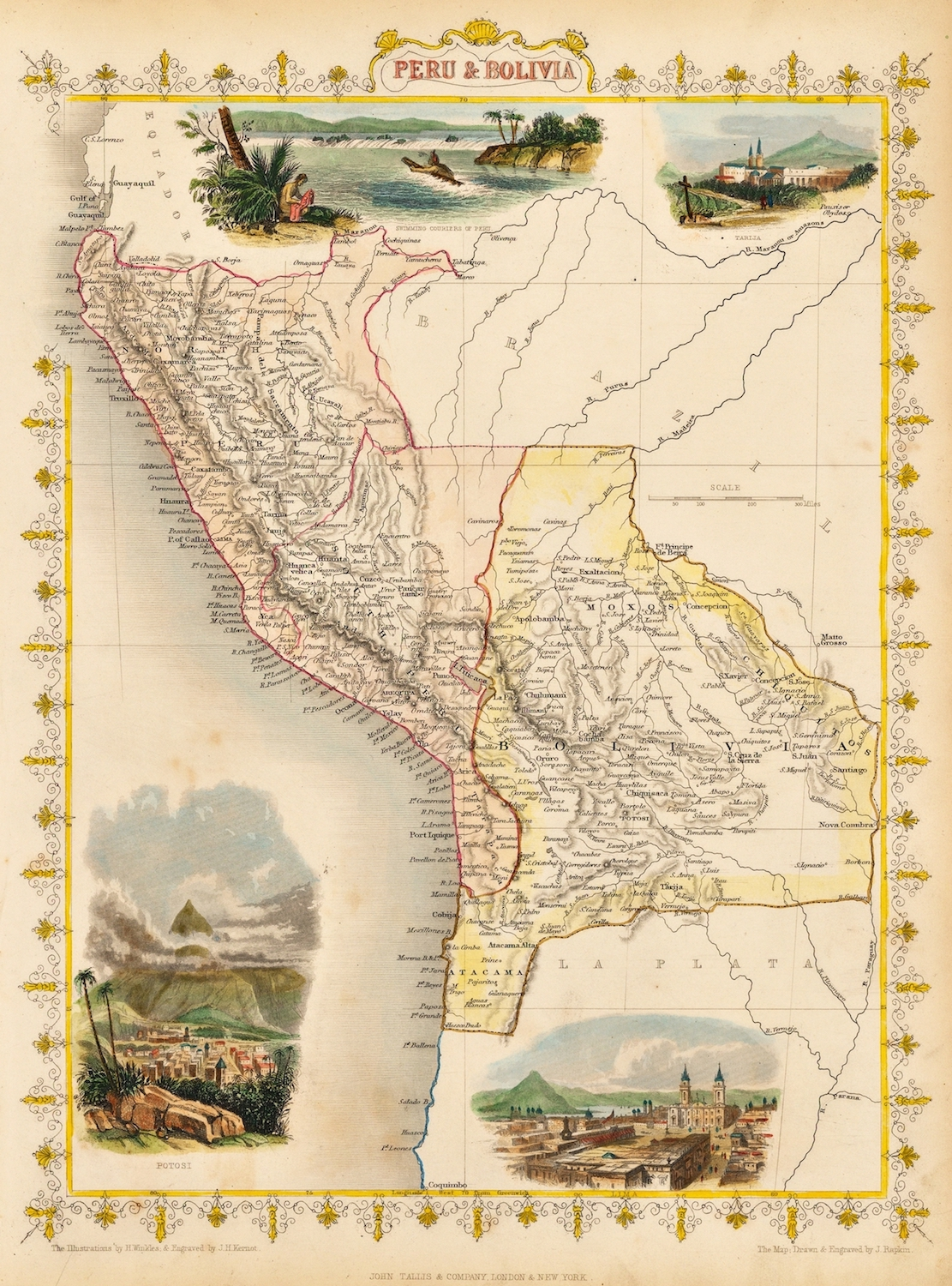 Vintage Map Poster ohn Tallis - Peru & Bolivia (1851) Classic Canvas Paintings Vintage Wall Posters Stickers Home Decor Gift