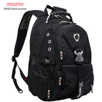Crosste Swiss Travel laptop Backpack Men SchoolBags For Students Fashion Business Rucksack 15.6 inch Computer bagpack waterproof