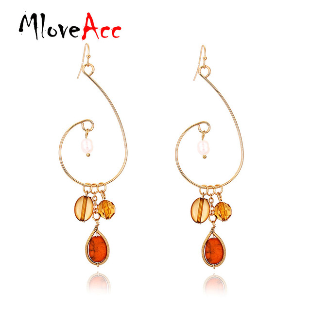 Mloveacc Por Unique Style Brown Stone Drop Earrings Gold Color Charms For Women Jewelry