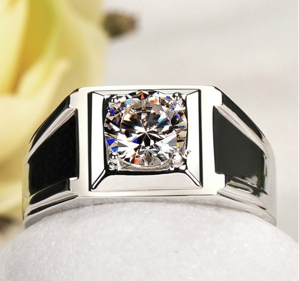 Wholesale Classic Man Ring 045CT Simulate Diamond 925 Silver