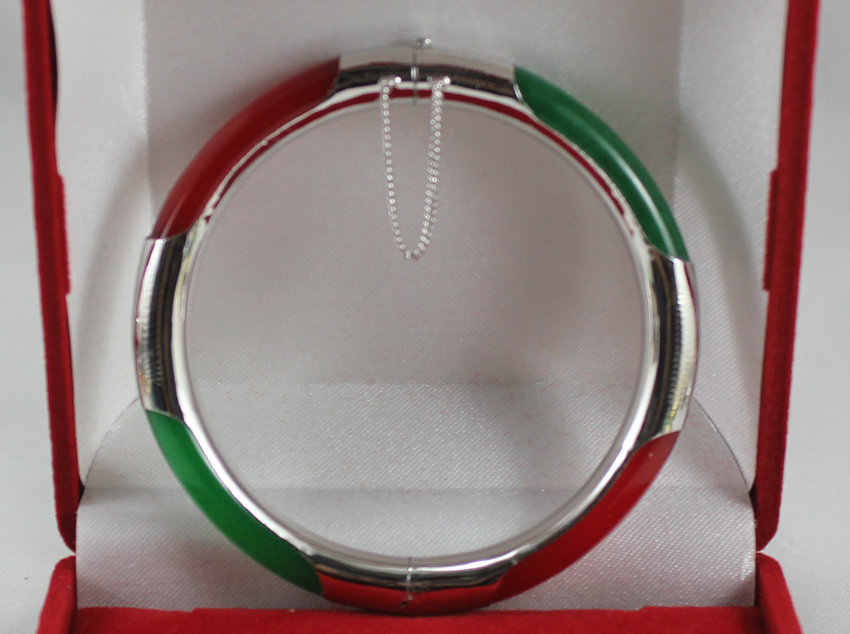new design 57MM red mixed green Jade round bangle  bracelet
